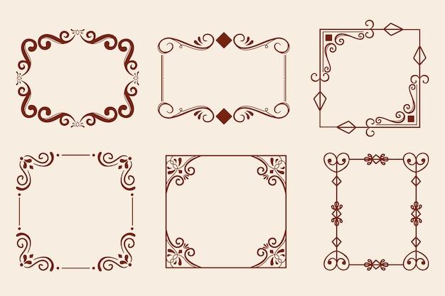 Коллекция старинных декоративных рамок Premium векторы