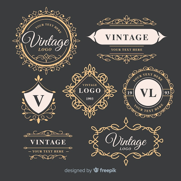 Vintage ornamental logos collection template Free Vector