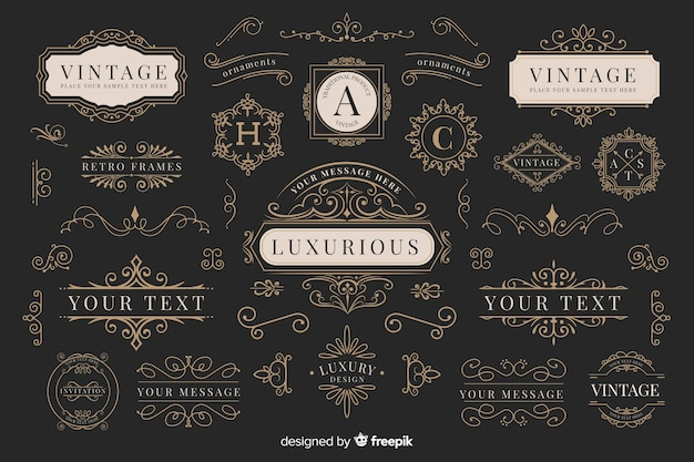 Vintage ornamental logos collection Free Vector