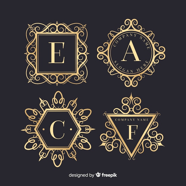 Vintage ornamental logos set Free Vector
