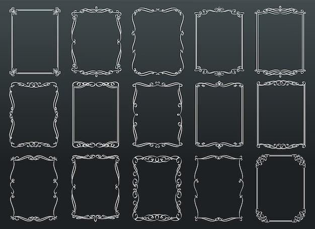 칠판에 빈티지 장식 직사각형 복고풍 프레임 템플릿 프리미엄 벡터