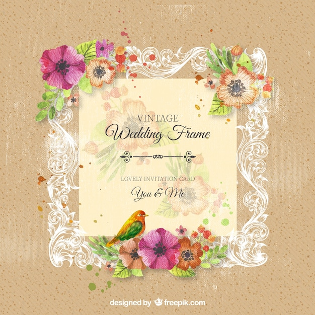 Vintage ornamental wedding frame with flowers Vector | Premium Download