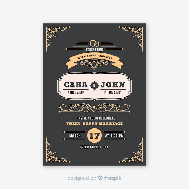 Vintage ornamental wedding invitation template Free Vector