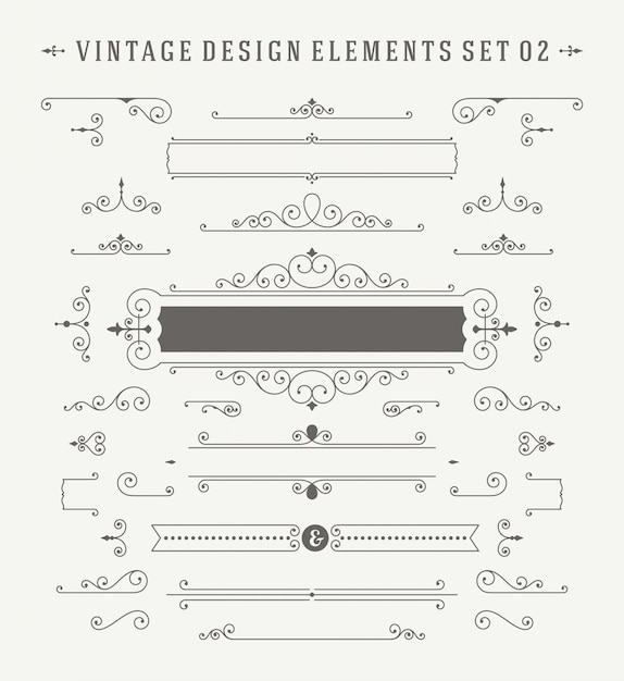 Vintage ornaments decorations design elements set. Premium Vector