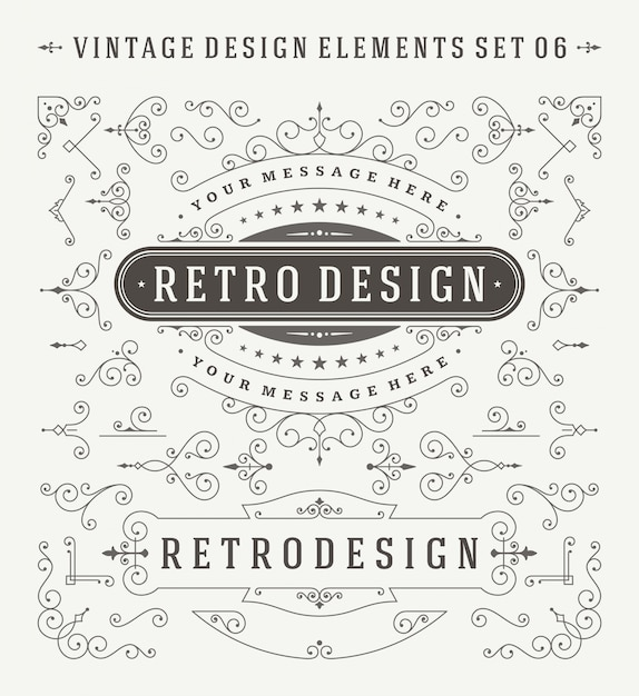 Vintage ornaments decorations design elements set. Premium Vector