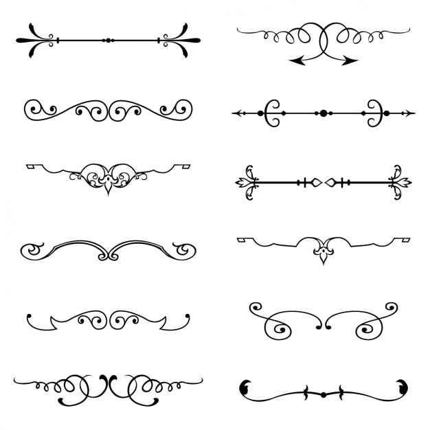 Vector Drawing Lines Download : Vintage ornaments set vector free download