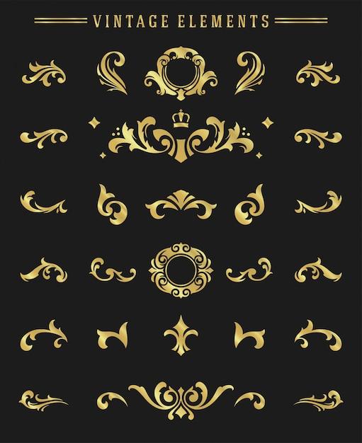 Vintage ornaments vignettes set floral elements for design Premium Vector