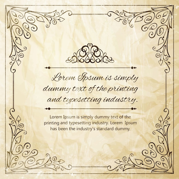 Vintage Ornate frame. Free Vector