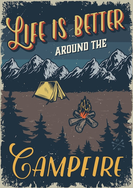Vintage outdoor camping template Free Vector
