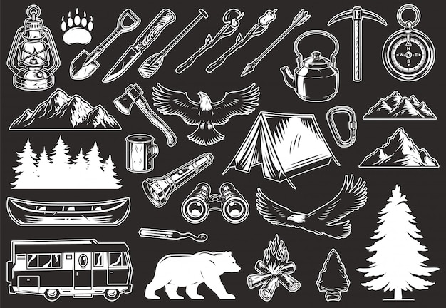 Vintage outdoor recreation elements collection Free Vector