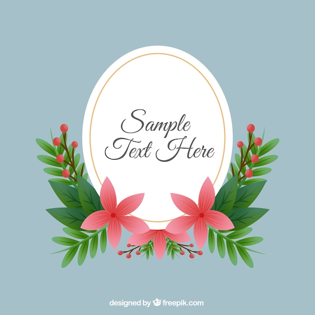Vintage oval frame with flowers Vector | Free Download