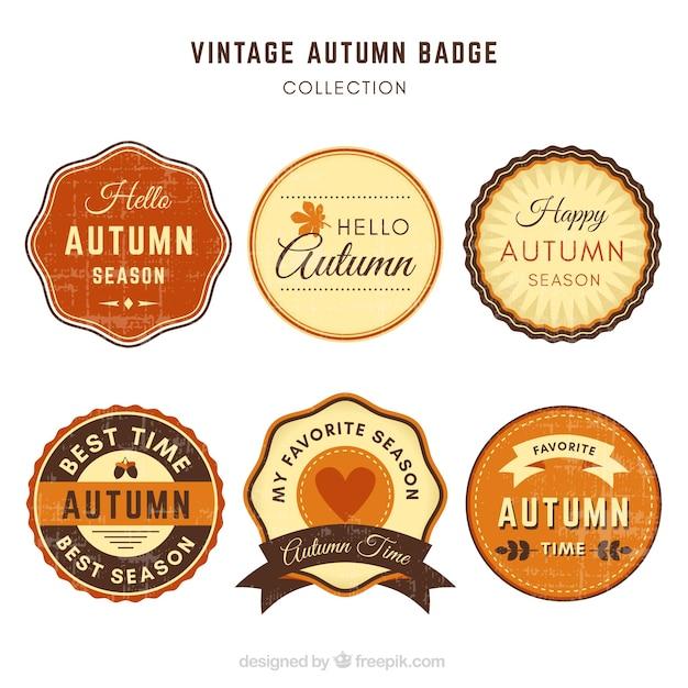 Vintage pack of autumn badges