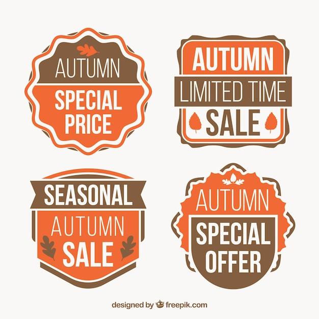 Vintage pack of  autumn sale badges