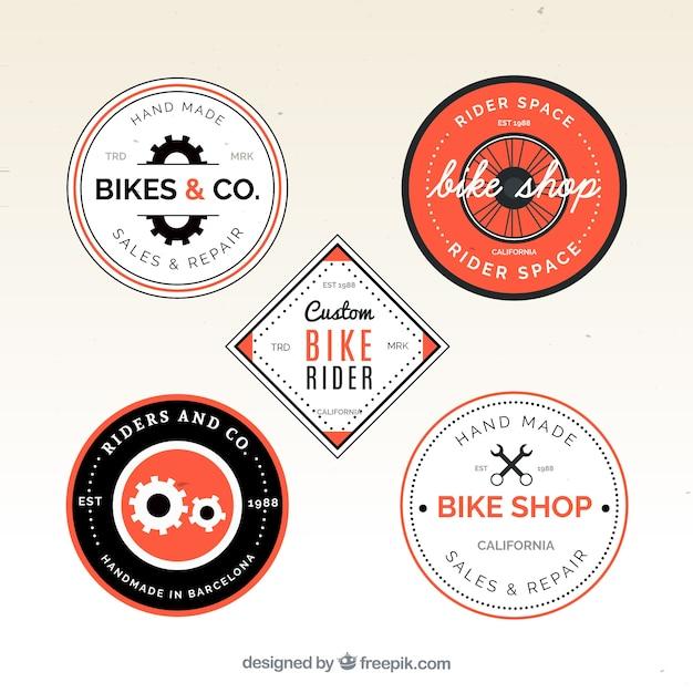Vintage pack of bike logos