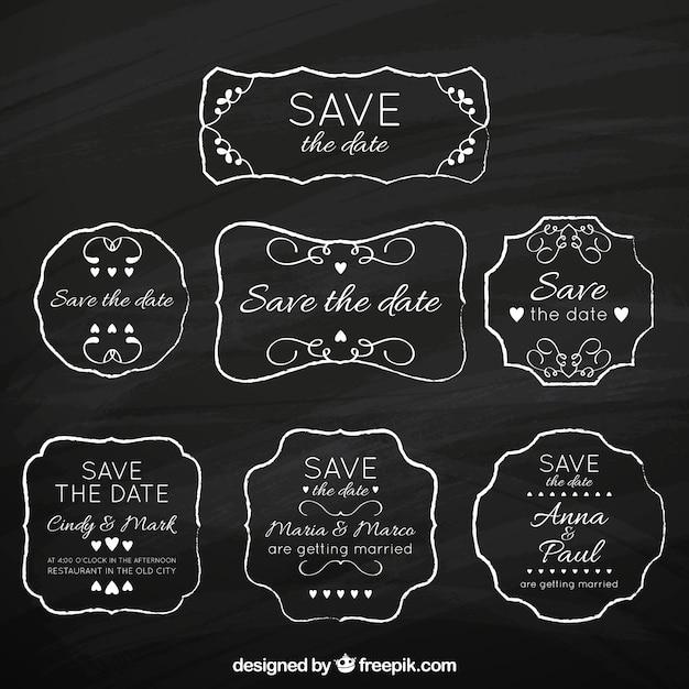 Vintage pack of blackboard wedding labels