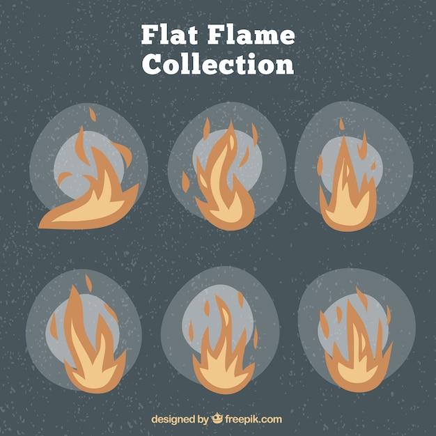 Vintage pack of flames in flat design