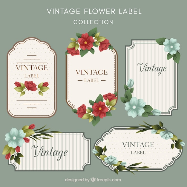 Vintage pack of flat floral labels Free Vector