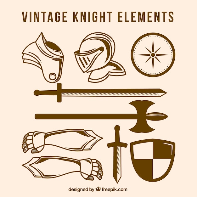 Vintage pack of knight elements
