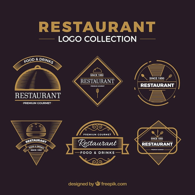 Vintage pack of restaurant logos