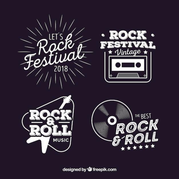 Vintage pack of rock logos Free Vector