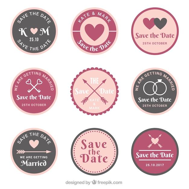 Vintage pack of wedding badges Free Vector