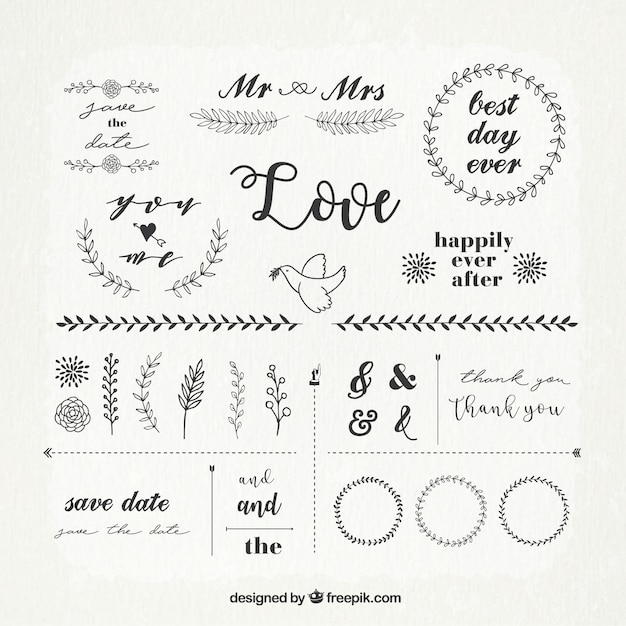 Vintage pack of wedding ornaments Free Vector