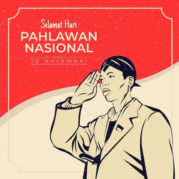 Giornata pahlawan vintage Vettore gratuito
