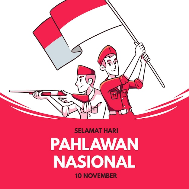 Vintage pahlawan day Premium Vector