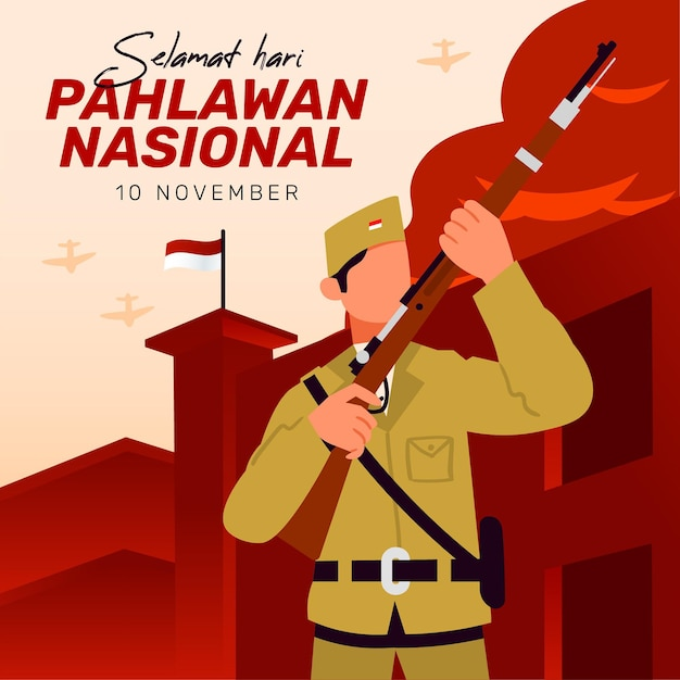 Vintage pahlawan heroes' day background with fist Free Vector