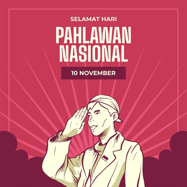 Vintage pahlawan heroes' day background with man Premium Vector