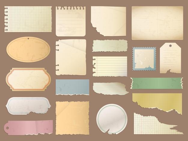 빈티지 종이. 레트로 스크랩북 스티커 긁힌 복고풍 일기에 대 한 디자인 요소 빈 종이 질감. 프리미엄 벡터