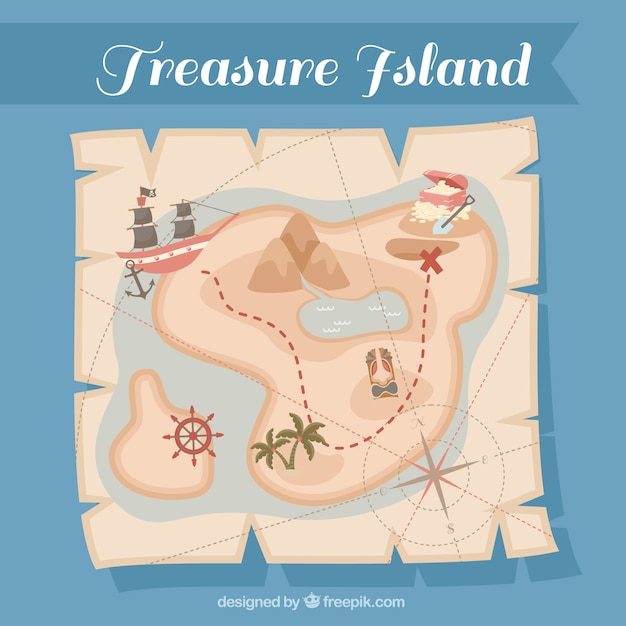 Vintage paper with pirate treasure map Free Vector