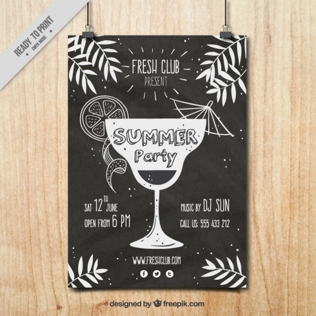 Vintage party poster with a hand drawn cocktail Vector ...