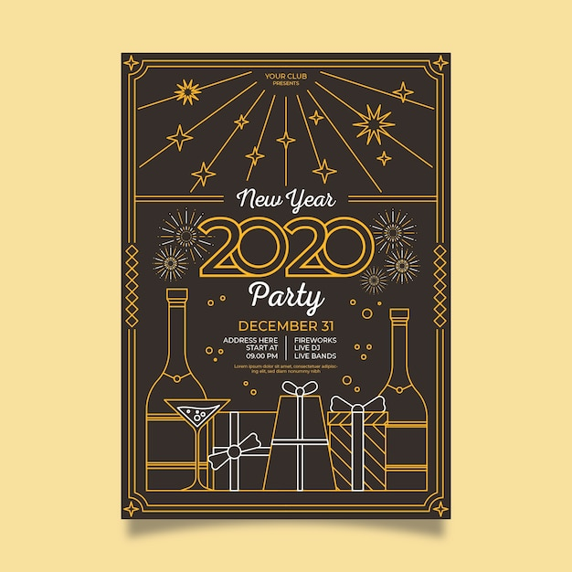 Vintage party poster with gift boxes in outline style Free Vector