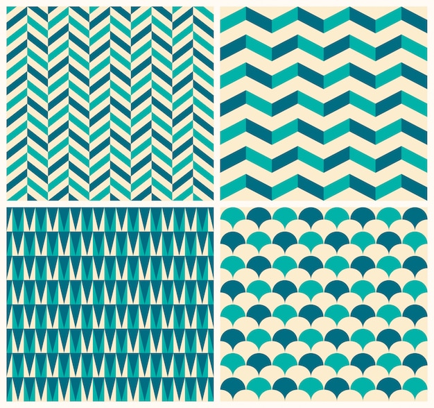Vintage pattern collection. set of four seamless pattern with geometric motifs Premium Vector