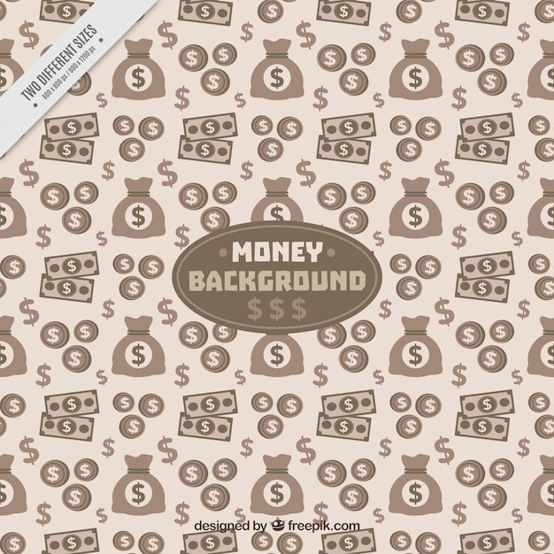 Vintage pattern of bills and money bags