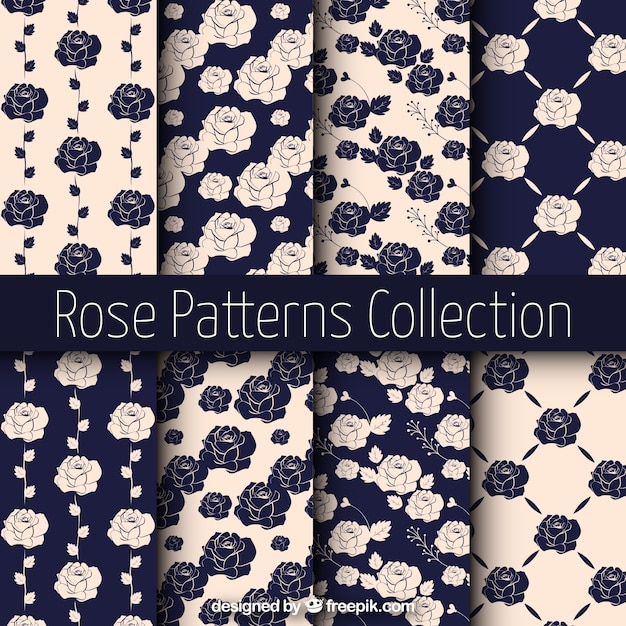 Vintage patterns of roses Free Vector