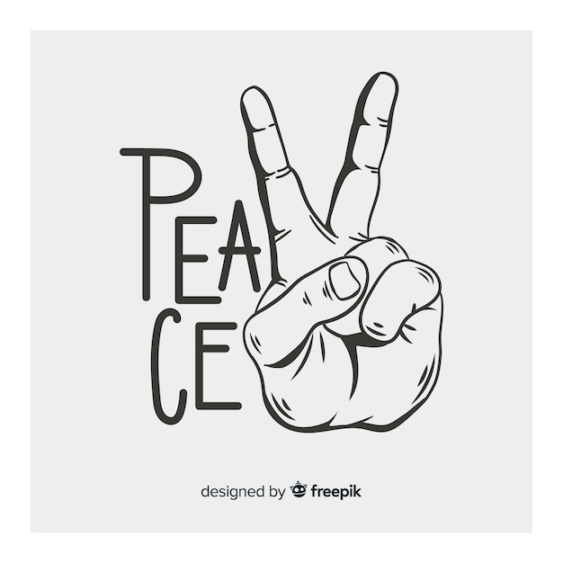 Vintage peace sign hand Free Vector