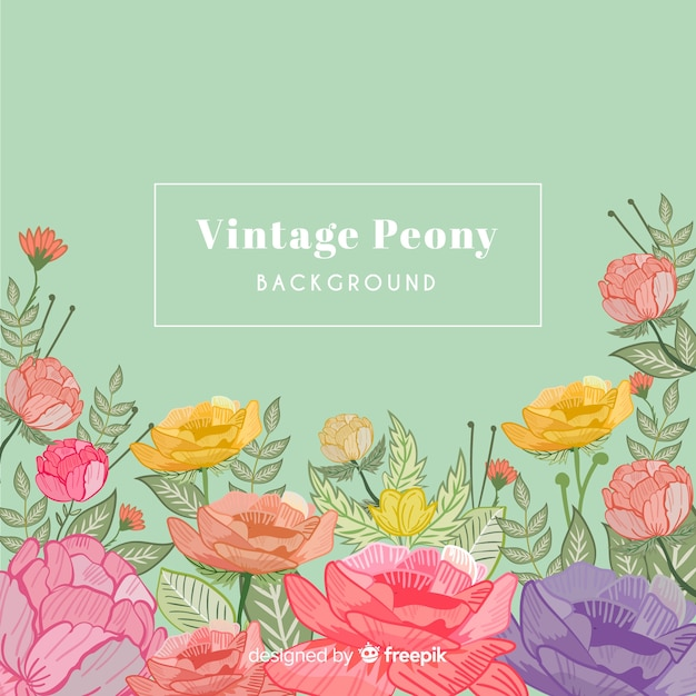 Vintage peony flowers background Free Vector