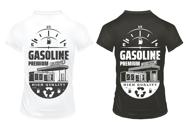 Stampe vintage benzina su camicie con scritta indicatore livello carburante e distributore di benzina isolato Vettore gratuito