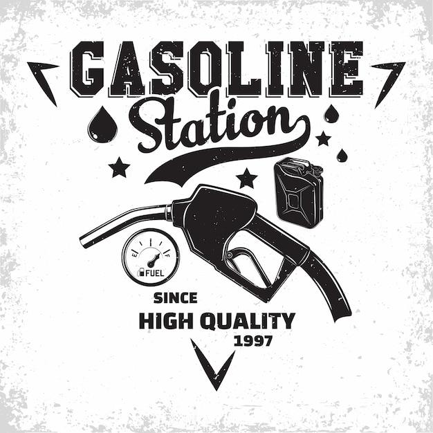 Винтажный логотип автозаправочной станции, эмблема автозаправочной станции, типографская эмблема бензозаправочной или дизельной автозаправочной станции, печать штампов с легко снимаемой гранью, Premium векторы