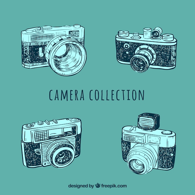 Vintage photo camera sketches set