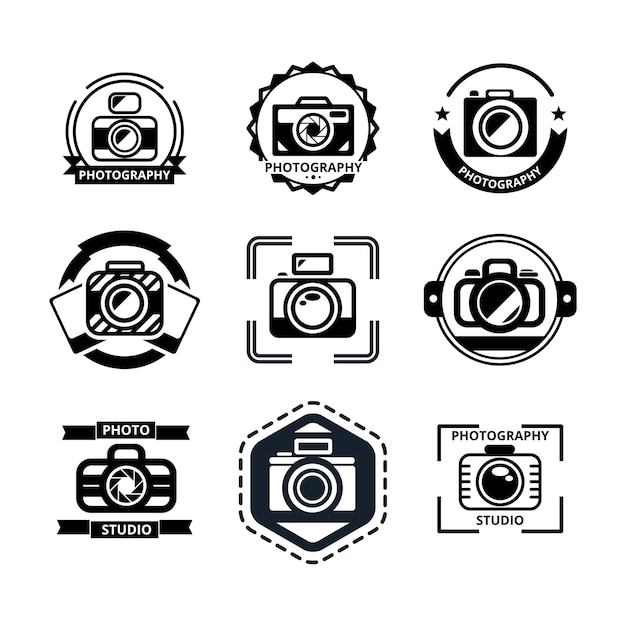 Vintage photography badges or logos set. Free Vector