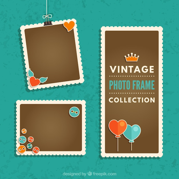 Vintage photography frames collection with heart balloons Free Vector