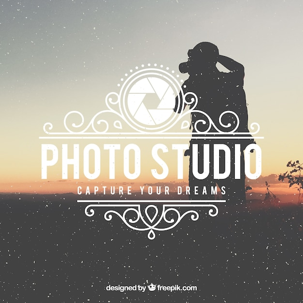 Vintage photography logo with photo background Free Vector