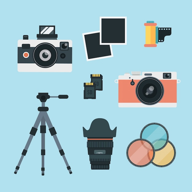 Vintage photography set Free Vector