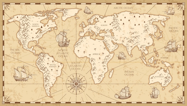 Vintage physical world map with rivers and mountains vector