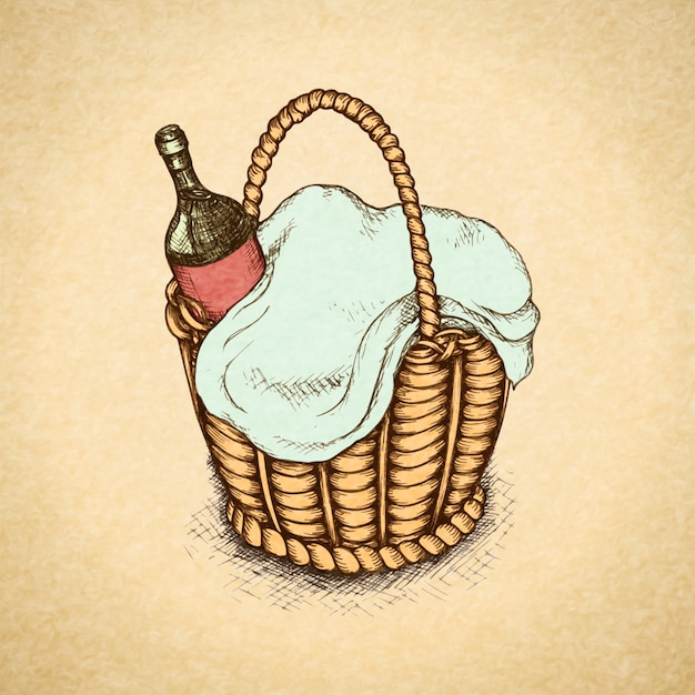 Vintage picnic basket with food and wine Free Vector