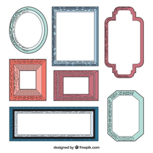 vintage picture frame collection vector free download