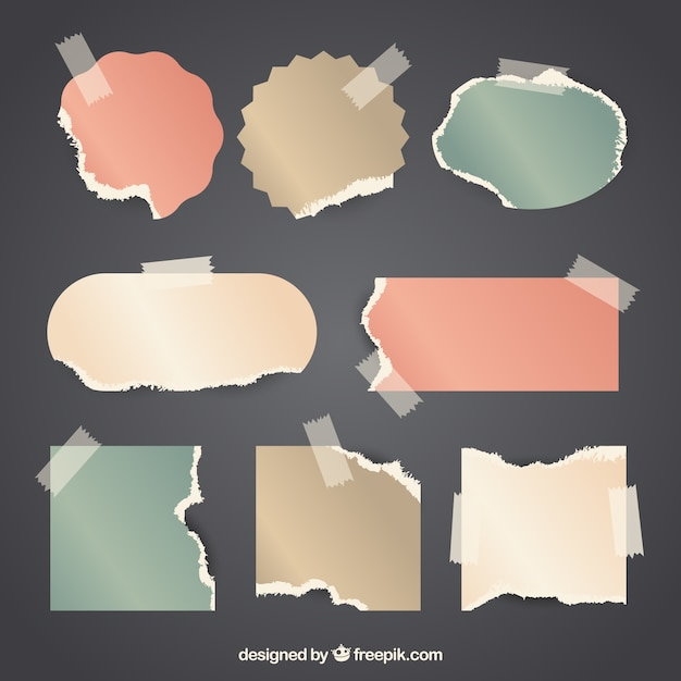 Vintage pieces of paper with tape background Free Vector